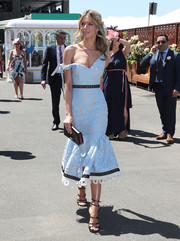 Jennifer Hawkins looked heavenly during Oaks Day in a pastel-blue Talulah frock that clung to her curves before flaring out at the hem.