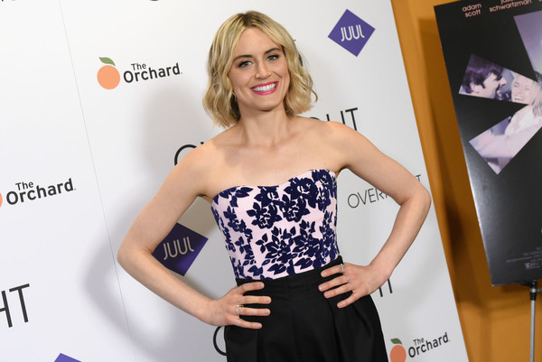 More Pics of Taylor Schilling Studded Clutch (1 of 19) - Clutches Lookbook - StyleBistro [clothing,premiere,dress,fashion,blond,carpet,waist,long hair,event,model,the overnight,new york,sunshine landmark,celebrities,taylor schilling]