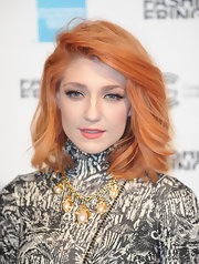 Nicola Roberts showed off her layered and feathered medium length locks.