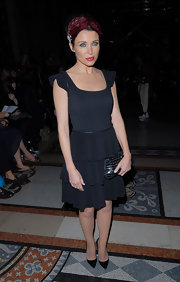 Dannii Minogue wore an adorable tiered black dress during London fashion week.