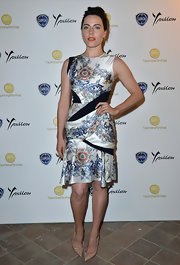 Antje chose a printed frock with navy insets for her stylish look at the Taormina Filmfest.