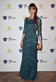 Gaia sported a lovely lace gown in a dark teal color at the Lancia Cafe at the Taormina Filmfest.