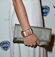 Nina Senicar attended the 2013 Taormina Filmfest carrying an ultra-stylish silver chainmail clutch.