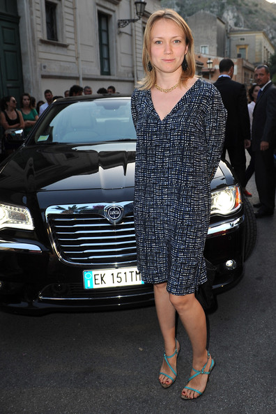 Elena Bouryka opted for a not-so-formal look with this printed shift dress at the 2013 Taormina Filmfest.
