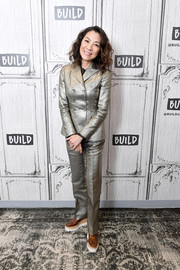 Michelle Yeoh went menswear-glam in a gold pantsuit while visiting Build.