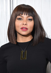 Taraji P. Henson visited Build rocking a pageboy cut.