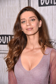 Angela Sarafyan looked lovely with her flowing waves while visiting Build.