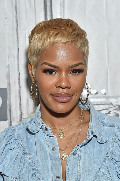 Teyana Taylor rocked a blonde pixie while visiting Build.