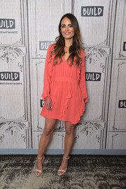 Jordana Brewster went boho with this ruffled salmon mini dress while visiting Build.