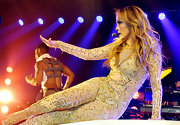 Jennifer Lopez showed off her amazing body with this sheer, silk body suit with rose gold beading and embroidery.