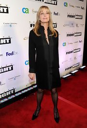 Bo Derek was stylish in black from her shirtdress to her pumps.