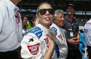 Lady Gaga looked sporty in her shield sunglasses at the 100th Indianapolis 500.