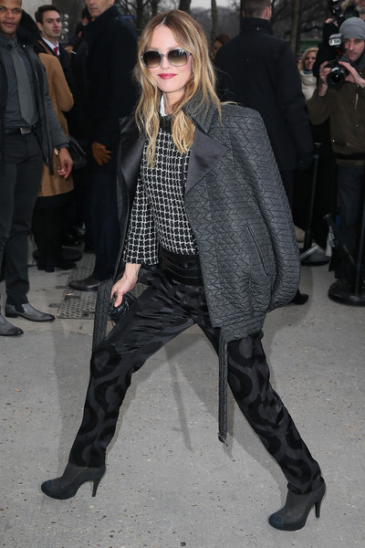 Vanessa Paradis was masculine-chic in a quilted gray bomber and black silk pants, both by Chanel, during Paris Fashion Week.