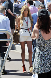 Perta Ecclestone wore peeptoe booties to the Grand Prix of Monaco.