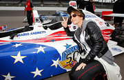 Jillian Michaels fit right in at the Indianapolis 500 in her black leather jacket.
