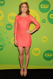 Leah Pipes' peach lace frock looked sweet and flirty at CW's Upfront Event in NYC.