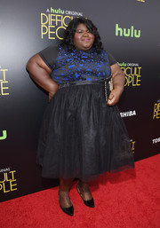Gabourey Sidibe was prom-chic at the premiere of 'Difficult People' in a cocktail dress with a printed bodice and a tulle skirt.