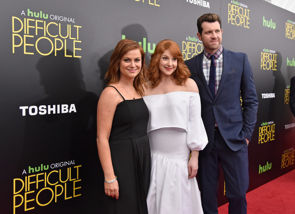 More Pics of Amy Poehler Jumpsuit (8 of 18) - Amy Poehler Lookbook - StyleBistro [premiere,carpet,red carpet,event,flooring,dress,suit,little black dress,celebs,julie klausner,amy poehler,billy eichner,hulu original,l-r,new york city,difficult people premiere,difficult people premiere]