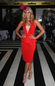 Scherri Lee Biggs chose a simple yet stylish red and white peplum dress for Melbourne Cup Day.