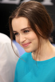 Emilia Clarke topped off her look with a vintage-looking loose updo during her visit to the Variety Studio.