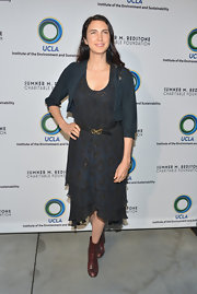 Shiva Rose opted for a navy blue printed dress while at the UCLA Evening of Environmental Excellence.