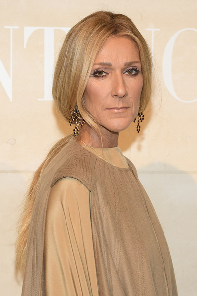 Celine Dion Gemstone Chandelier Earrings [haute couture spring summer,hair,face,hairstyle,blond,eyebrow,shoulder,layered hair,beauty,lip,long hair,celine dion,valentino,front row,part,valentino haute couture spring summer 2019,paris,france,paris fashion week,show]