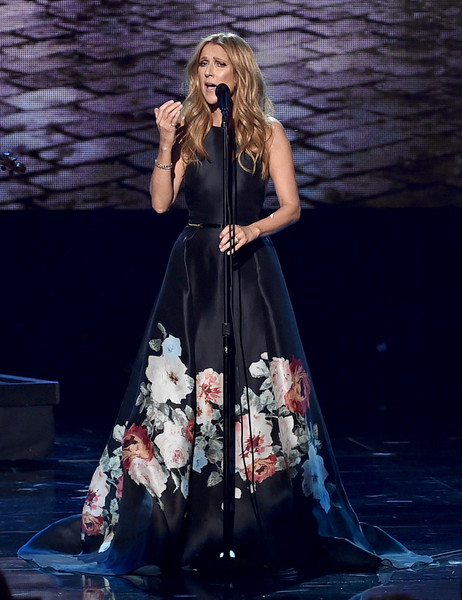 Celine Dion Print Dress [performance,fashion model,dress,fashion,stage,performance art,gown,photo shoot,girl,model,celine dion,american music awards,microsoft theater,los angeles,california,show]