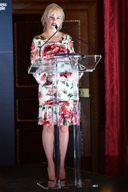 Emilia Clarke was a blooming beauty in this Dolce & Gabbana floral frock at the 2018 Centrepoint Awards.