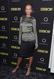 Uma Thurma teamed her ombre evening dress with strappy silver sandals.