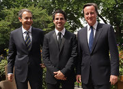 Cesc Fabregas looked sharp for his meeting on Downing Street - here in an all black suit and matching tie.