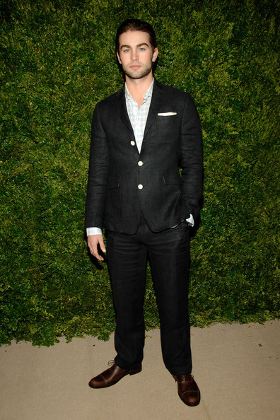 Chace Crawford Men's Suit [suit,clothing,formal wear,tuxedo,blazer,standing,outerwear,pantsuit,fashion,white-collar worker,chace crawford,vogue fashion fund awards,new york city,skylight soho,cfda]