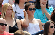 Laura Robson watched the Wimbledon championships wearing a summery top and square sunnies.