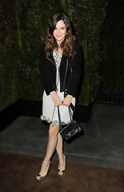Rachel Bilson added shine with silver peep-toe pumps complete with subtle ankle straps.