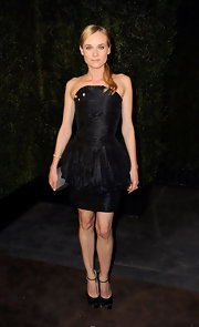 Diane Kruger topped off her black frock with platform satin pumps.