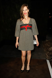 Liz Goldwyn wore this Eastern-inspired print dress to a pre-Oscar dinner.