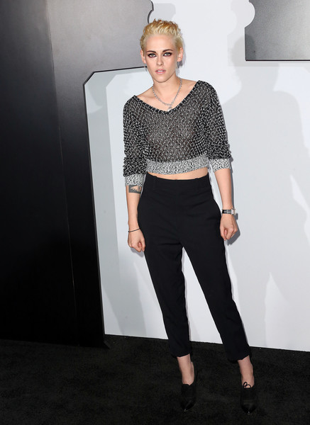 Kristen Stewart was rocker-glam in a black and silver crop-top by Chanel while attending a dinner hosted by the French fashion house.