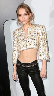Lily Rose Depp styled her leather skinnies with a gold chain belt by Chanel for the brand's dinner celebrating No. 5 L'Eau.