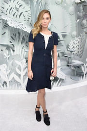 Dylan Penn went for a funky finish with a pair of black ankle-strap loafers by Chanel.