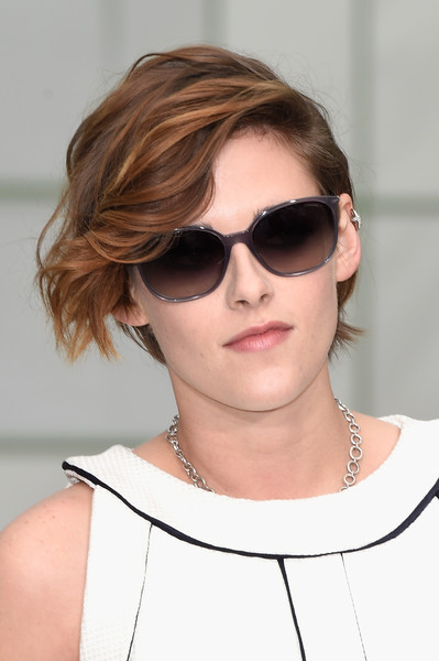 Kristen Stewart arrived for the Chanel Couture show wearing a pair of gray-rimmed sunnies from the label.