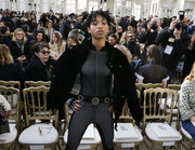 Willow Smith contrasted a futuristic catsuit with a classic black tweed jacket for her Chanel fashion show look.
