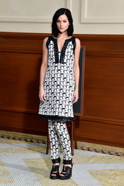 Leigh Lezark made a classy appearance at the Chanel fashion show wearing a monochrome print dress from the label.