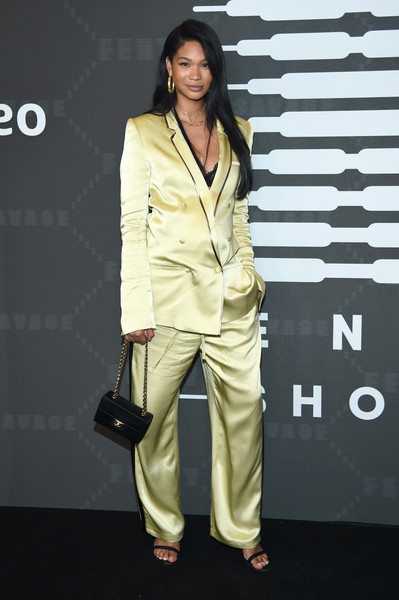 Chanel Iman Pantsuit [clothing,suit,fashion model,pantsuit,fashion,formal wear,outerwear,fashion design,blazer,beige,amazon prime,savage x fenty show,brooklyn,new york,barclays center,video - arrivals,chanel iman]
