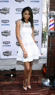 Chanel Iman was the picture of sweetness in this scallop-patterned fit-and-flare LWD during the SI Swim City event.
