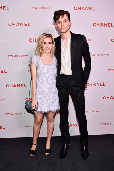 Kiernan Shipka paired black ankle-strap peep-toes with a fuzzy blue dress, all by Chanel, for the brand's Beauty House party.