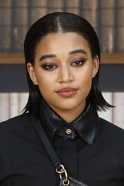 Amandla Stenberg sported a slick short hairstyle with flipped ends at the Chanel Couture Fall 2019 show.