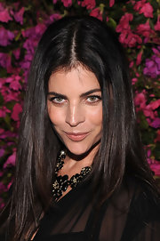 Julia Restoin Roitfeld finished off her ensemble with a cute black flower statement necklace.
