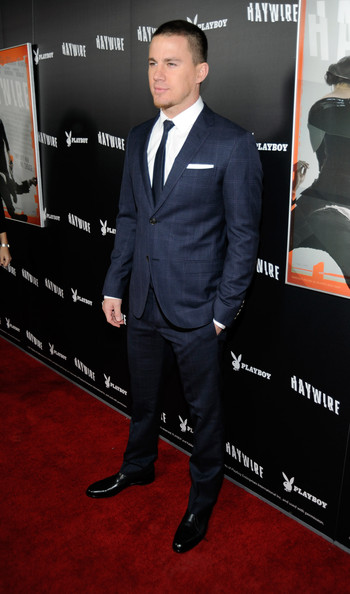 Channing Tatum Men's Suit [haywire,suit,premiere,clothing,red carpet,tuxedo,formal wear,carpet,white-collar worker,outerwear,flooring,channing tatum,playboy,haywire premiere co-hosted by playboy,california,los angeles,dga theater,relativity media,red carpet,premiere]