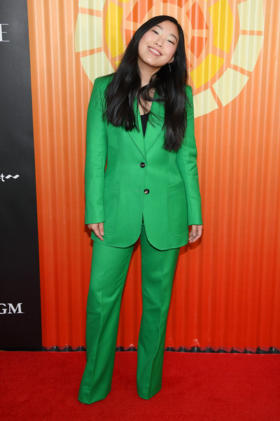 More Pics of Awkwafina Long Side Part (7 of 16) - Awkwafina Lookbook - StyleBistro [clothing,suit,green,pantsuit,red carpet,carpet,outerwear,formal wear,flooring,blazer,awkwafina,charlize theron africa outreach project,new york city,the africa center,fundraising event,charlize theron africa outreach project fundraising event]