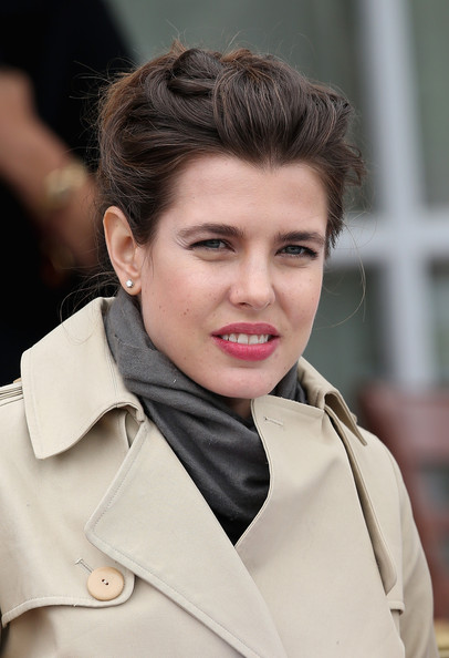 Charlotte Casiraghi Diamond Studs [hair,hairstyle,eyebrow,beauty,lip,chin,fashion,trench coat,brown hair,coat,charlotte casiraghi,egham,england,guards polo club,cartier queens cup final,the cartier queens cup final]