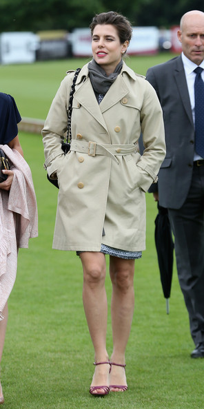 Charlotte Casiraghi Trenchcoat [clothing,lady,fashion,uniform,coat,outerwear,trench coat,footwear,human,headgear,charlotte casiraghi,egham,england,guards polo club,cartier queens cup final,the cartier queens cup final]